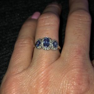 14kt white gold and tanzanite and diamond ring